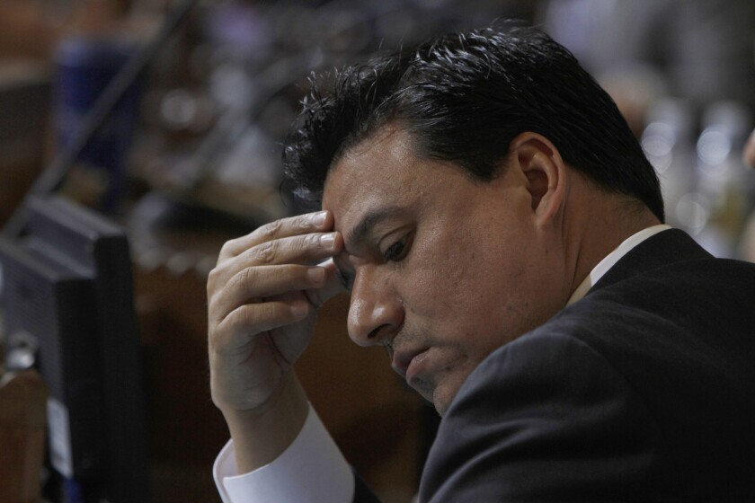 Los Angeles City Councilman Jose Huizar shown in 2018, the year he was sued by two of his former aides.
