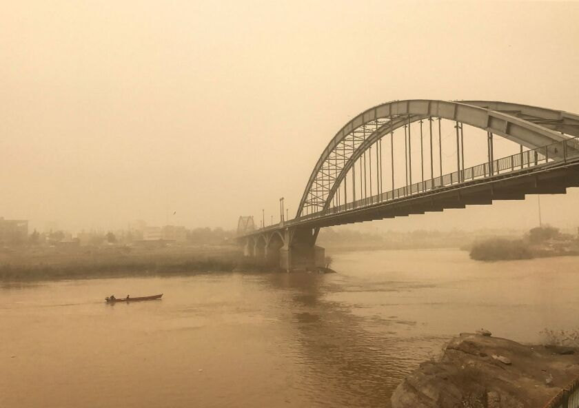 A bridge in the Iranian city of Ahvaz is shown during a sandstorm on Feb. 18.