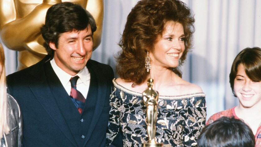 Tom Hayden with wife Jane Fonda and family backstage during the 54th Academy Awards at Dorothy Chandler Pavilion in Los Angeles on March 29, 1982.