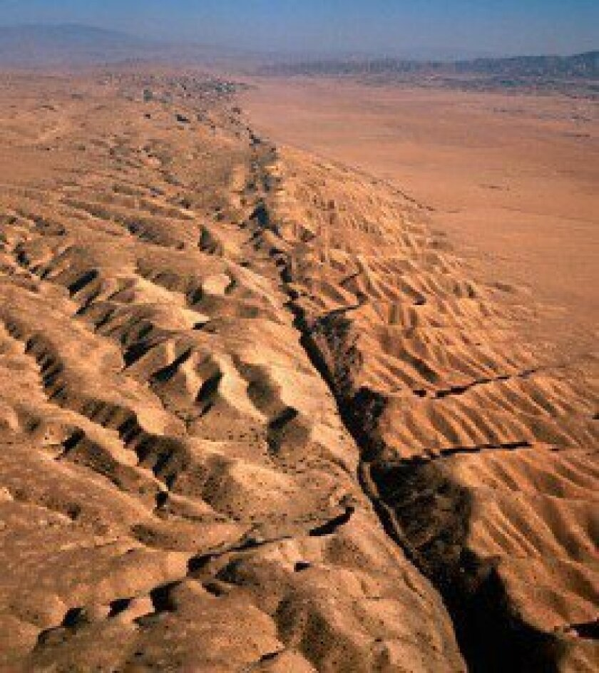 An aerial image of the San Andreas fault as it crosses the Carrizo Plain 300 miles south of San Francisco.