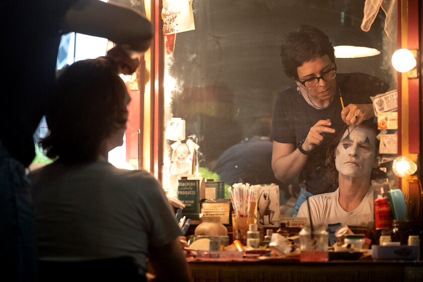 Makeup artist Nicki Ledermann designing Joaquin Phoenix's clown look