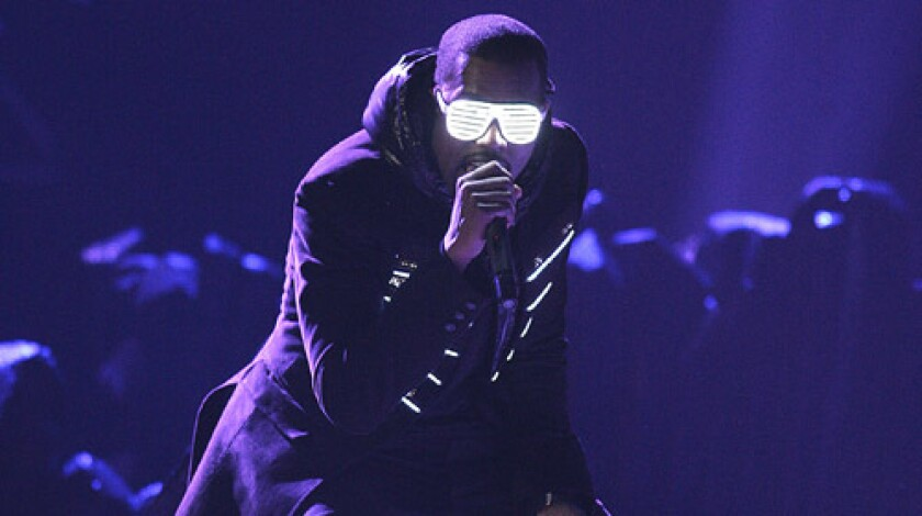 Kanye West's Glow in the Dark tour opened April 16, 2008, in Seattle. He unveiled some of the glow-in-the-dark effects at this year's Grammy Awards, seen above.