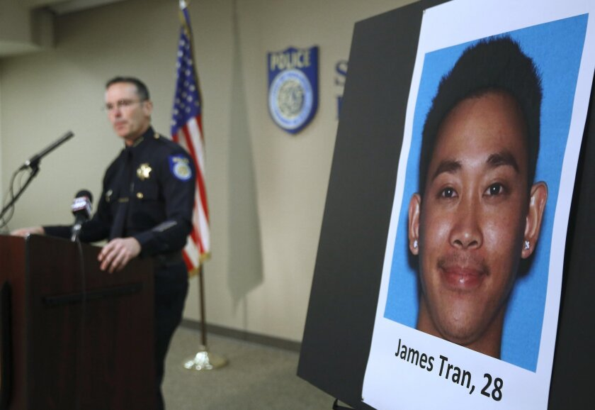Sacramento Police Chief Sam Somers Jr., left, announces the arrest of  James Tran, who is charged with the attempted homicide of Airman 1st Class Spencer Stone during an altercation in October, in Sacramento, Calif., Wednesday, Nob. 4, 2015. Stone was one of three Americans who helped thwart a Euro