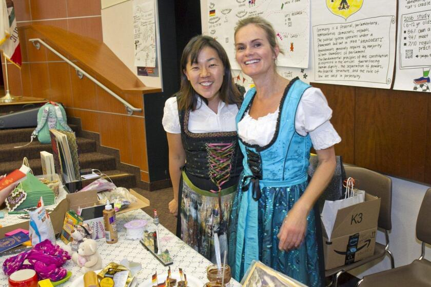 Lisa Lee and Bettina Groschel at the Germany table