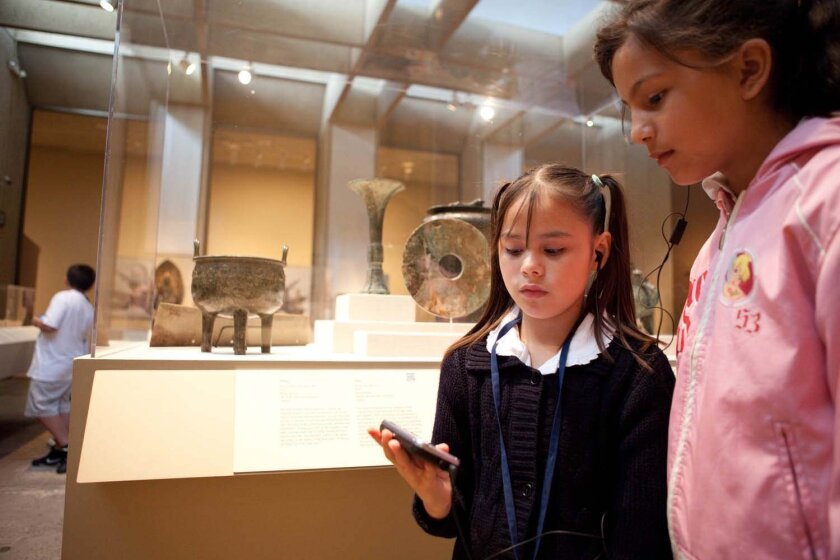 Students using Augmented Reality technology in the San Diego Museum of Art's new Art of East Asia exhibit. Photo: Qualcomm