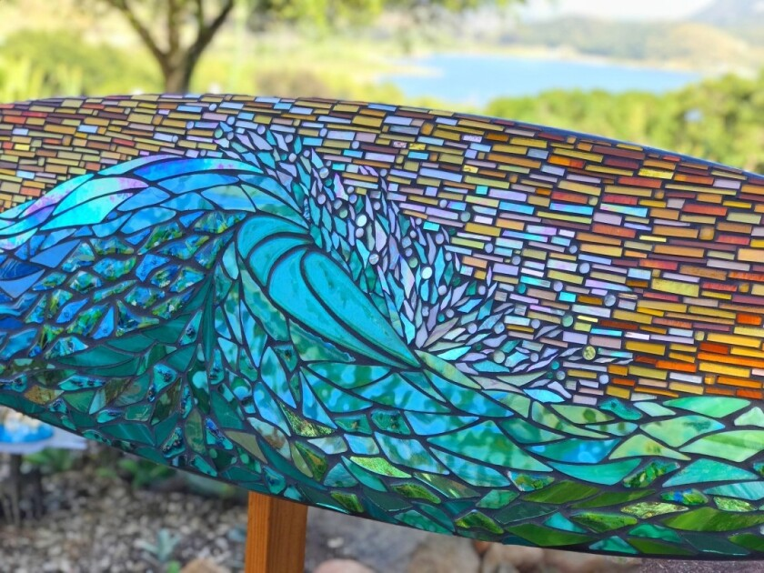"""First place: """"Wave Ride Mosaic Surfboard"""" by Cherrie LaPorte"""