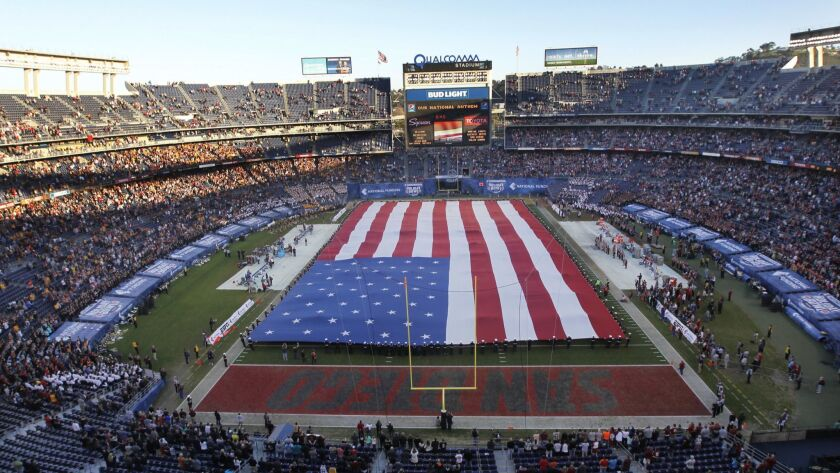 The Big Flag is unfurled during the national anthem each year before the San Diego County Credit Union Holiday Bowl.