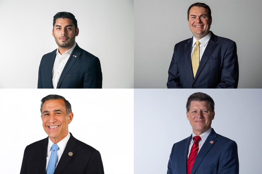 Candidates for the 50th Congressional District include Ammar Campa-Najjar (top left), Carl DeMaio (top right), Darrell Issa (bottom left), and state Sen. Brian Jones (bottom right).