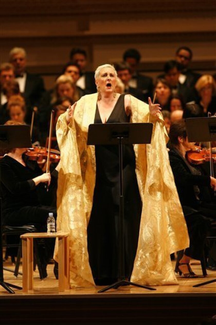 "In this image released by the New York City Opera, Lauren Flanigan performs Samuel Barber's ""Antony and Cleopatra""  at Carnegie Hall, Thursday, Jan. 15, 2008, in New York. (AP Photo/New York City Opera, Carol Rosegg)"