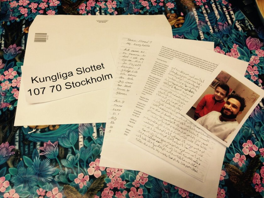 The letter that twelve-year-old Syrian refugee boy Ahmed  posted  to the Swedish King  is displayed in Malmo Sweden, Wednesday Feb. 3, 2016.   Ahmed  is hoping for an audience with Sweden's King Carl XVI Gustaf after describing his family's perilous journey to the Nordic country in a moving letter