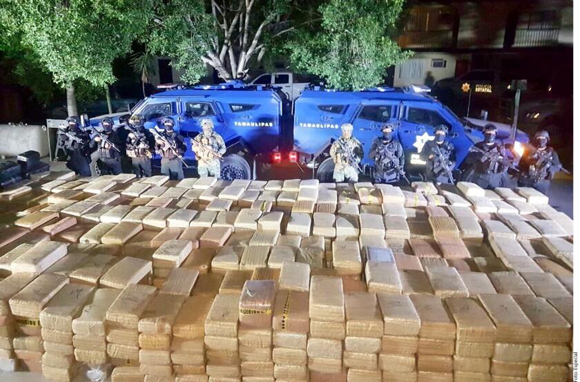 Elementos de la Policía de Tamaulipas y de la Secretaría de Marina aseguraron este miércoles más de 5 toneladas de mariguana en el municipio de Camargo.