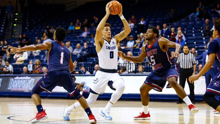 USD's Isaiah Piniero, pictured last week against Robert Morris, scored a career-high 20 points Monday against Little Rock.