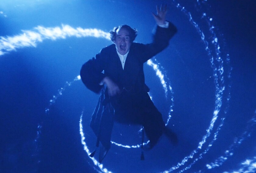 "Jefferson Mays takes flight in the filmed production of ""A Christmas Carol."""