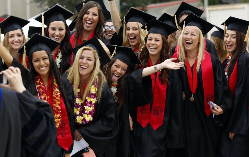 In this file photo from 2013, a group of SDSU students had their picture taken before heading into graduation at Viejas Arena.