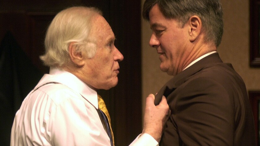 """George Coe, left, with Francis Guinan in a scene from the play """"God's Man in Texas."""" His resume included roles on stage, TV and in films."""