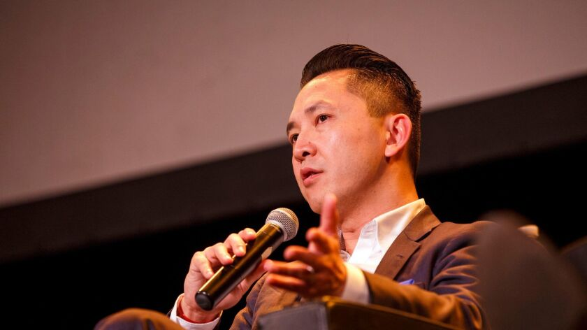 """Author Viet Thanh Nguyen, 2016 Pulitzer Prize winner for """"The Sympathizer,"""" speaks during The Pu"""