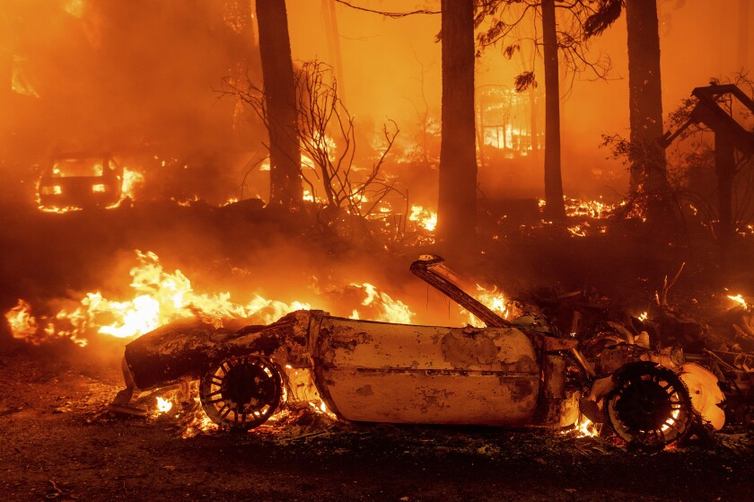 Vehicles going up in flames in Dixie fire