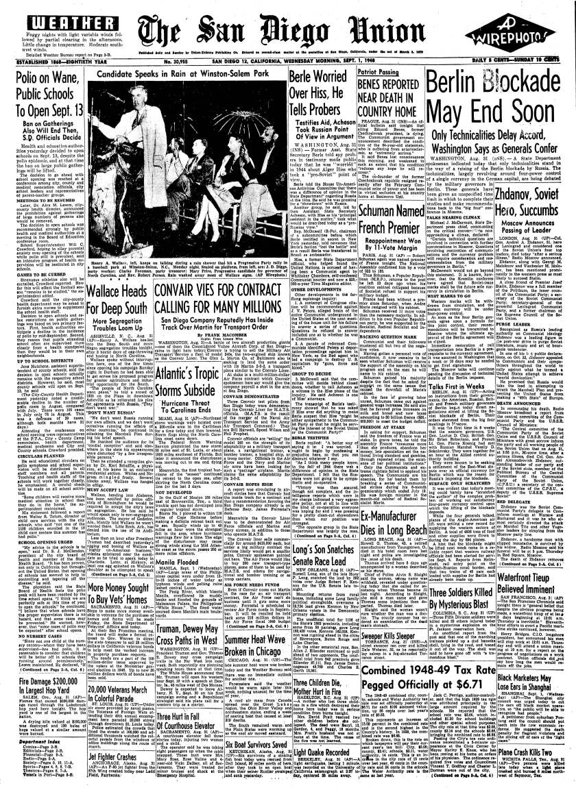"""September 1, 1948 Union front page with headline,""""Polio on Wane, Public Schools to Open..."""""""