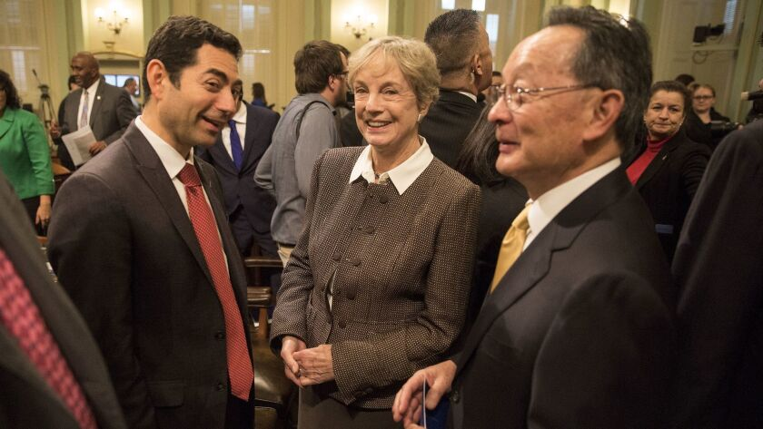 California Supreme Court Justice Kathryn Werdegar, with fellow justices Mariano-Florentino Cuellar, left, and Ming Chin in Sacramento, announced last week that she is stepping down Aug. 31.