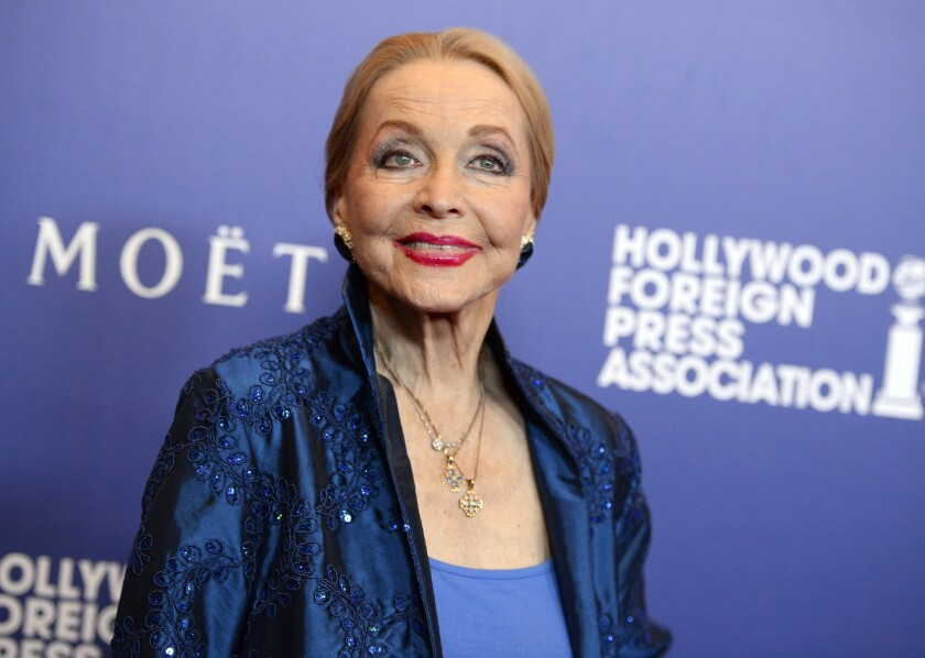 """2014 photo of Anne Jeffreys arriving at the Hollywood Foreign Press Association's Grants Banquet in Beverly Hills. Jeffreys, an actress and opera singer who starred as Marion Kerby in the 1950s TV series """"Topper,"""" has died at age 94."""