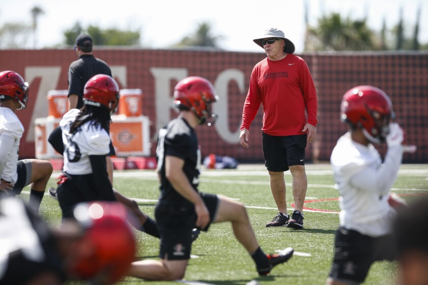 San Diego State football coach Rocky Long looks over his team during a recent fall practice.