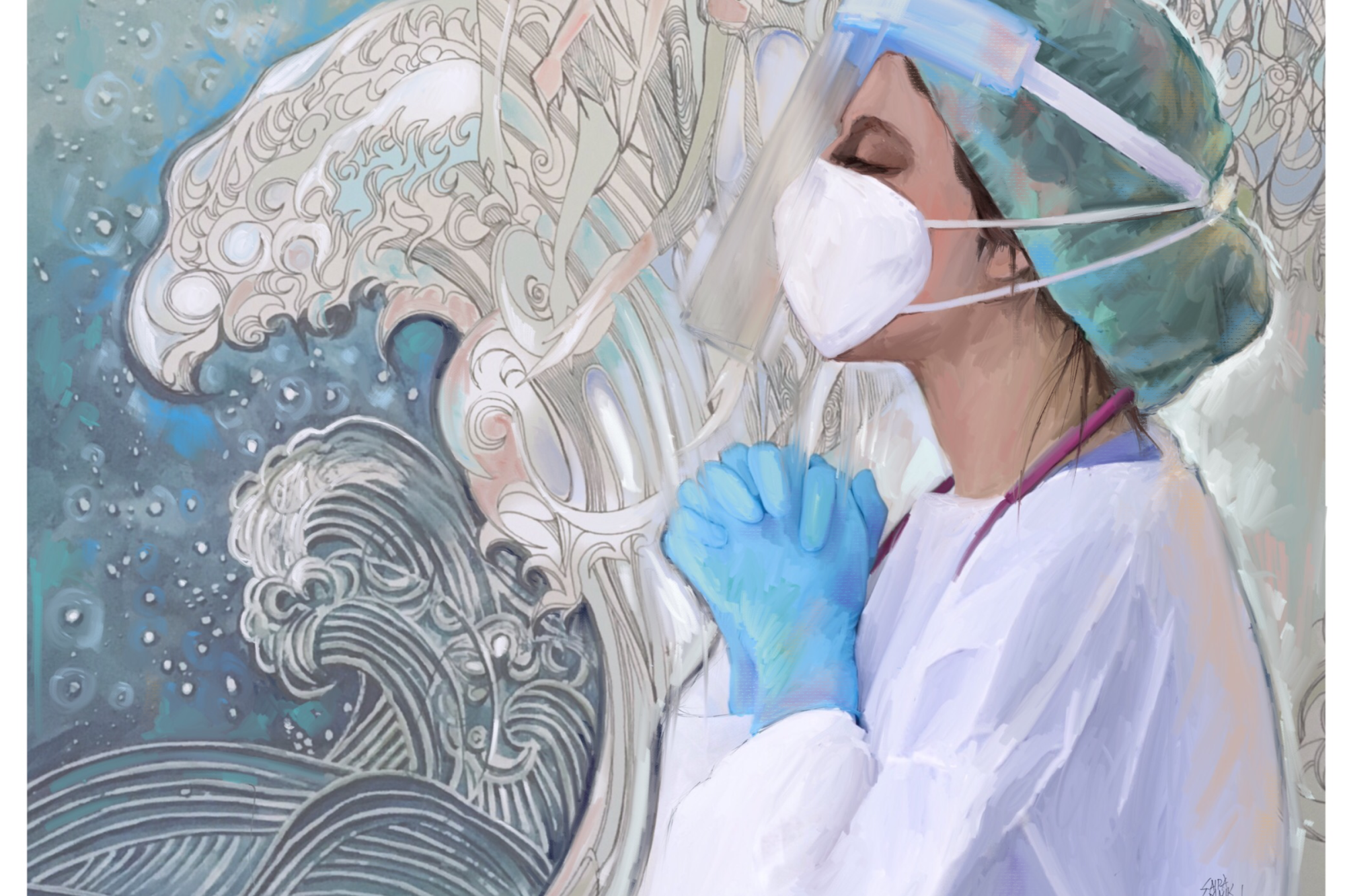 Artwork by Dr. Saira Malik Rahman depicting a physician with hands in prayer