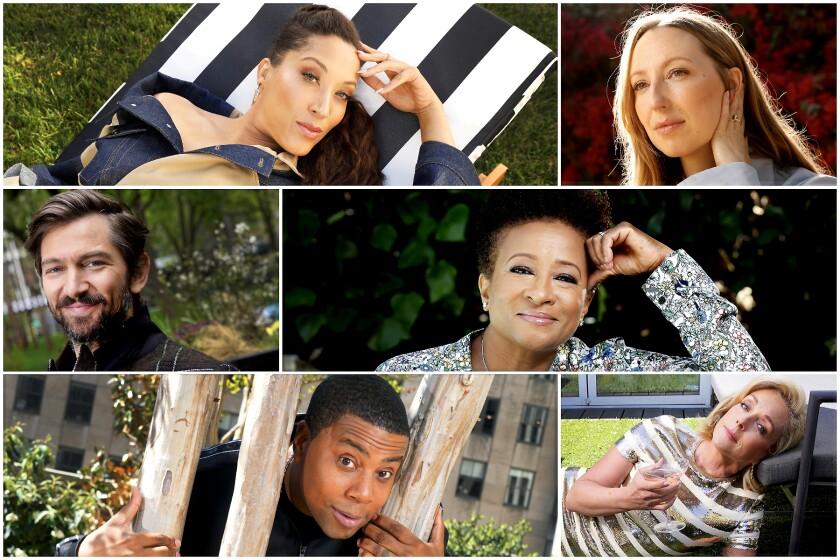 A collage of actors Robin Thede, Anna Konkle, Wanda Sykes, Jane Krakowski, Kenan Thompson and Michiel Huisman.