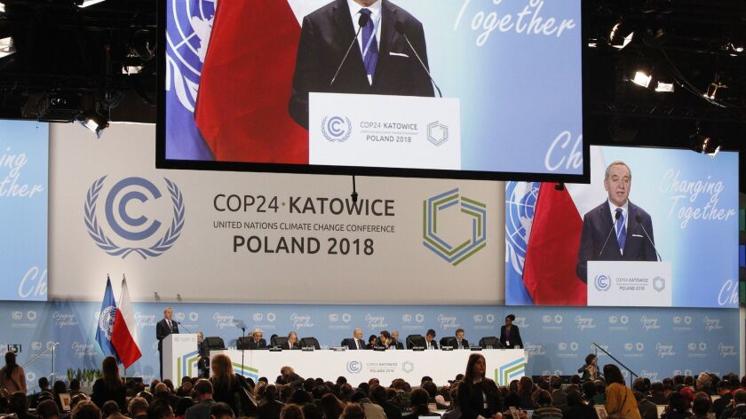 Poland's Environment Minister Henryk Kowalczyk talks during a session of the U.N. climate summit in Katowice, Poland on Dec. 11.