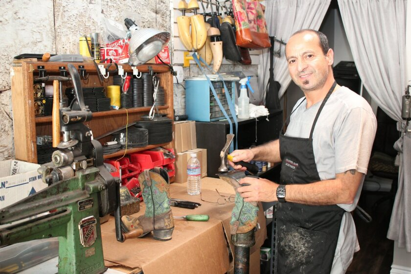 Third-generation shoe repairman Mohammed Alami has moved his business from Pacific Beach to 7514 La Jolla Blvd. (near Pearl Street).