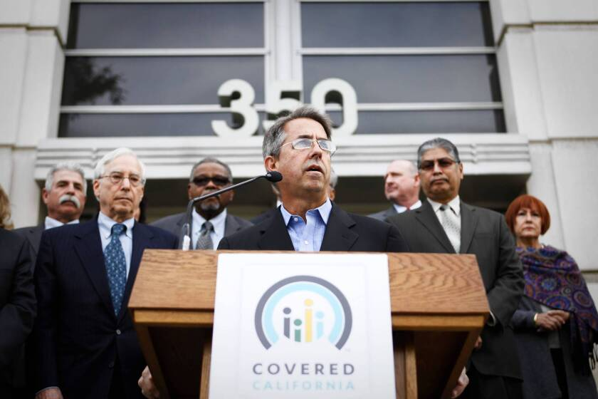 Peter Lee, executive director of Covered California, says during an event in downtown Los Angeles that the state health insurance exchange's online marketplace for small businesses is fully operational.