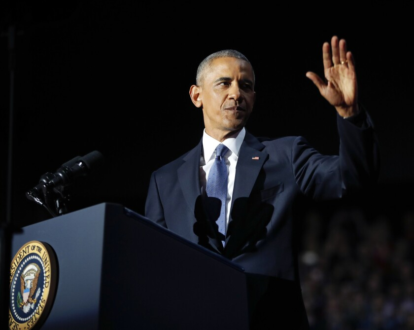 President Obama acknowledges the crowd during his farewell address at McCormick Place in Chicago on Jan. 10.
