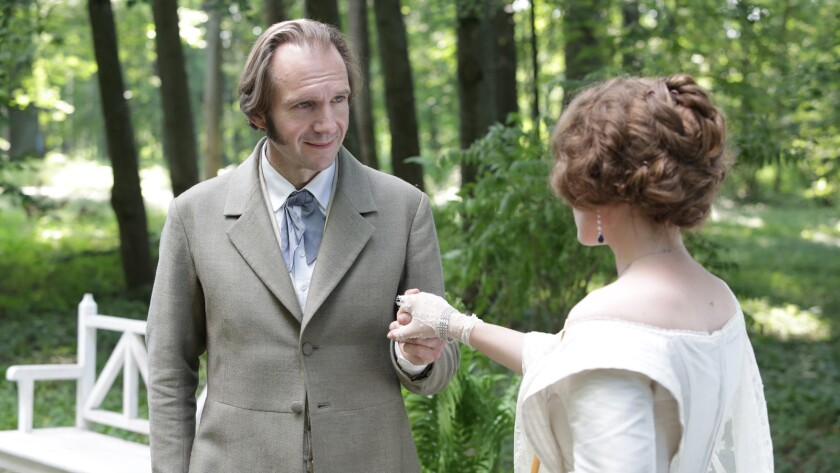 """Ralph Fiennes and Anna Astrakhantseva in the film """"Two Women."""""""