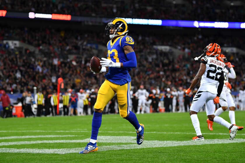 Rams receiver Josh Reynolds reached the end zone against the Cincinnati Bengals in London.