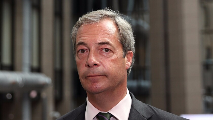 UK Independence Party leader Nigel Farage attends a European Council Meeting in June. He has resigned as the head of the party.