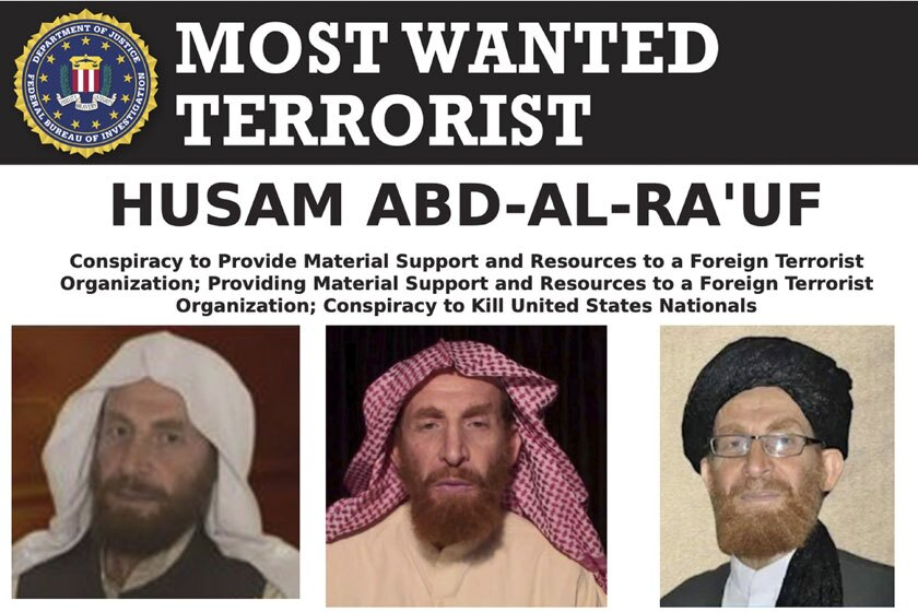 Photos of Husam Abd al-Rauf appear on an FBI most-wanted poster.