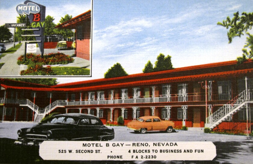 A postcard circa 1960 shows one of motor lodges that became popular stops for visitors when Reno was bigger than Las Vegas.