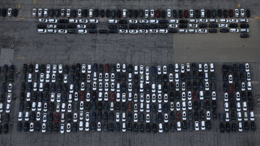 Parked vehicles are seen in an aerial view of the Ford Motor Co. Chicago Assembly Plant on Chicago's Far South Side, on April 1, 2017.