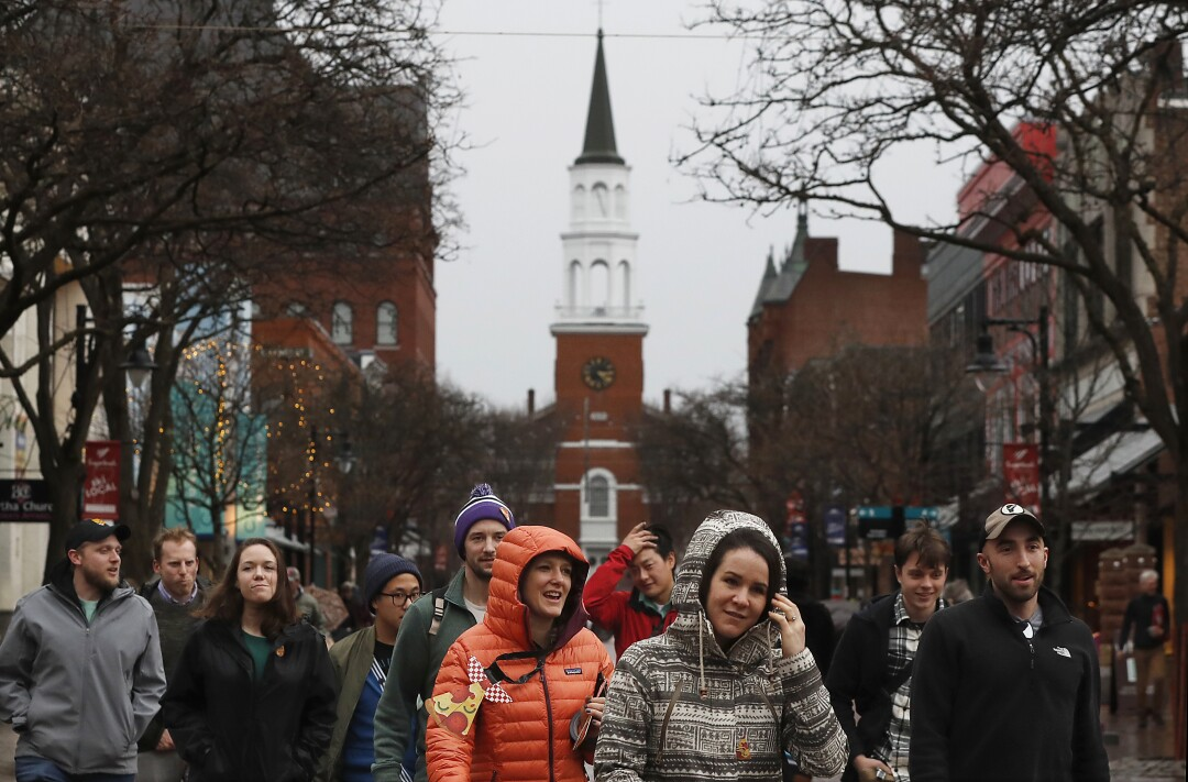 The Unitarian Universalist Church stands at the end of Church Street in downtown Burlington, Vt., home to presidential candidate and U.S. Sen. Bernie Sanders. A four-block pedestrian mall, the Church Street Marketplace is the city's retail hub and the site of festivals throughout the year.