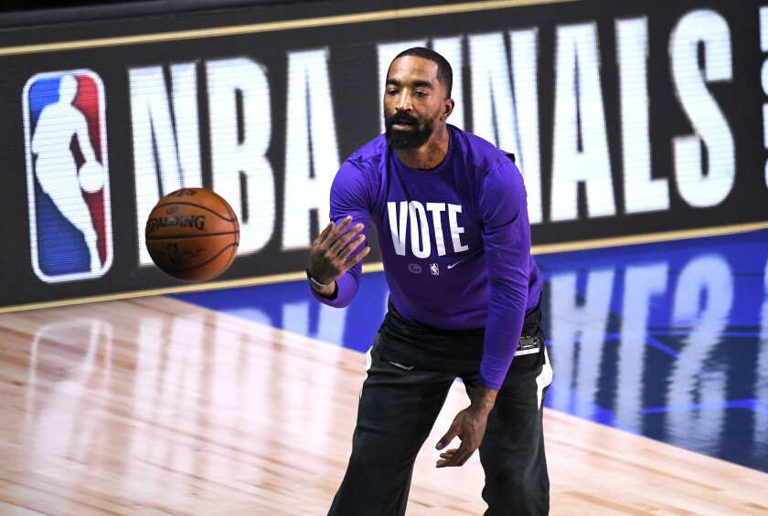 Lakers guard J.R. Smith warms up for Game 2 of the NBA Finals on Friday night in Orlando, Fla.