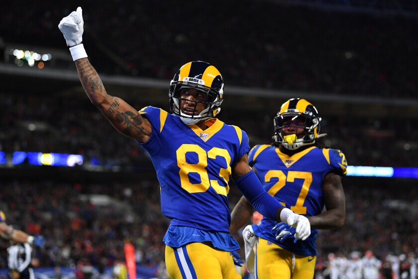 Rams wide receiver Josh Reynolds celebrates after scoring a touchdown against the Cincinnati Bengals in London last season.