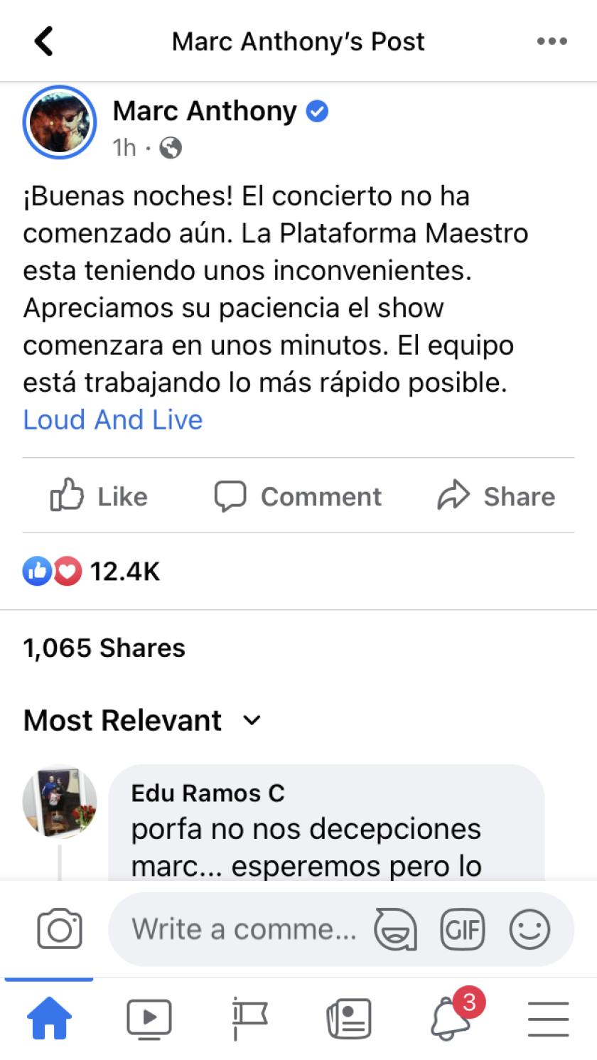 Este fue el comentario subido en Facebook y luego borrado.