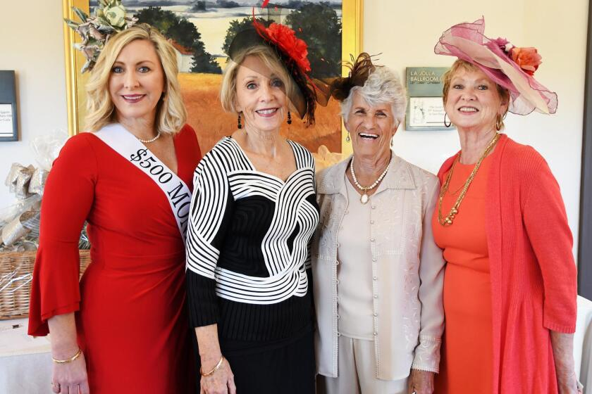 Sharon Henry wearing $500 Money Hat, G.O.L.D. Digger of the Year honoree Brenda Ferich, Jackie Bailey, Gerri Teyssier