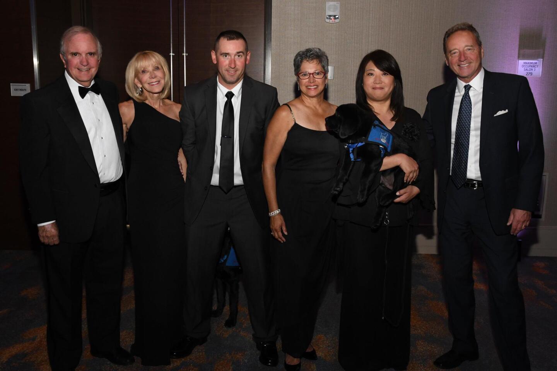 Ace Hoyt, Jane Miller, Jake Taylor (Freedom Dog recipient), Pat Rice, Atsuko Greeenwood (with Tank, Freedom Dog in training), Tom Rice