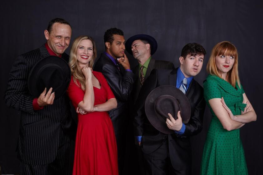 Six actors play 30 characters in 'Another Roll of the Dice,' onstage at North Coast Repertory Theatre in Solana Beach from July 10-Aug. 14, 2019: Jason Maddy, Allison Spratt Pearce, Darrick Penny, Lance Carter, Elliot Lazar and Sarah Errington.