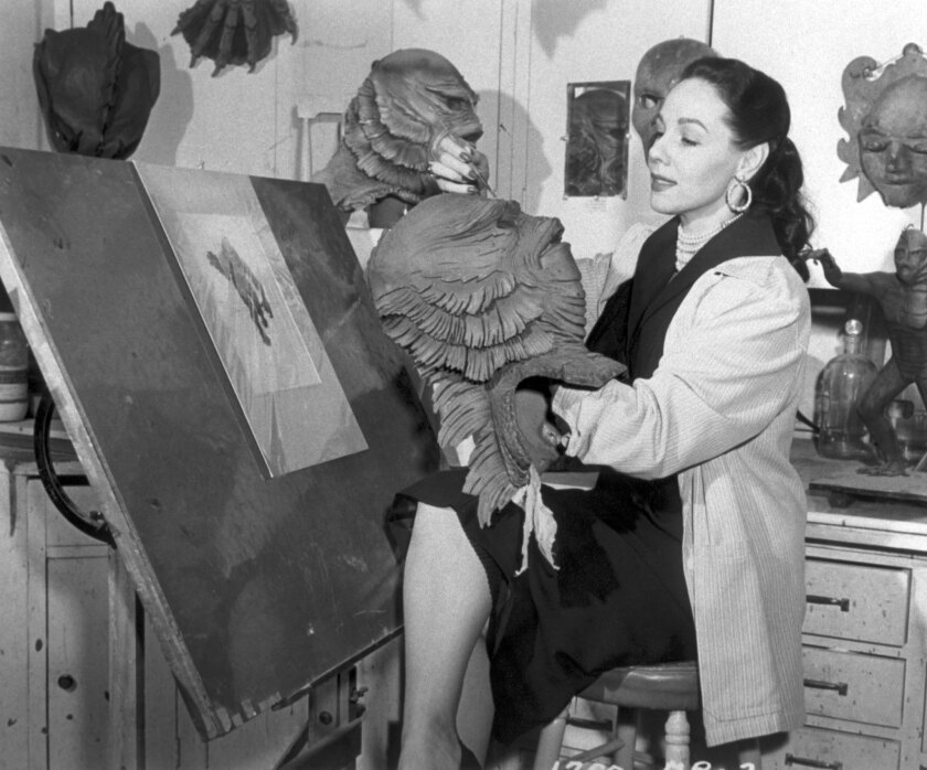Milicent Patrick in the Universal monster shop. Patrick's design for the creature had for decades been credited to Universal makeup artist Bud Westmore, who fired her rather than have her role in its success become known.