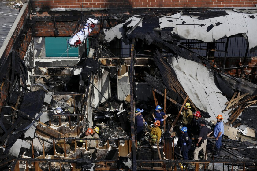 Scene of fire where five homeless people died.