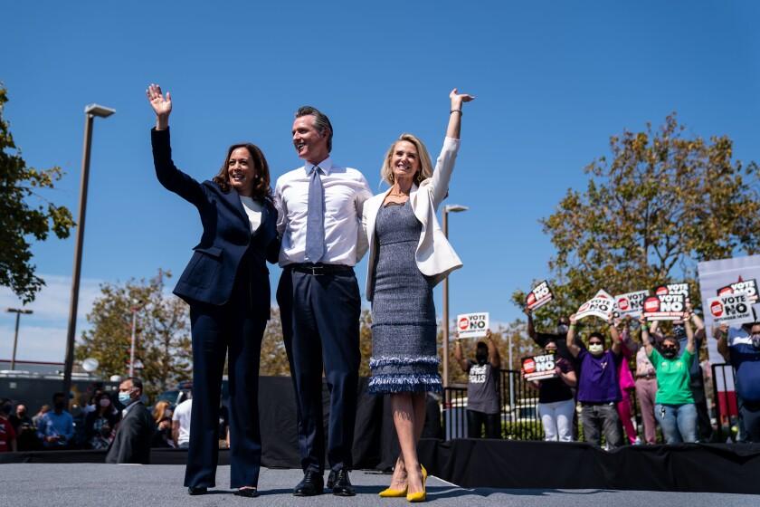 Vice President Kamala Harris, California Governor Gavin Newsroom and First Lady of California Jennifer Seibel-Newsom