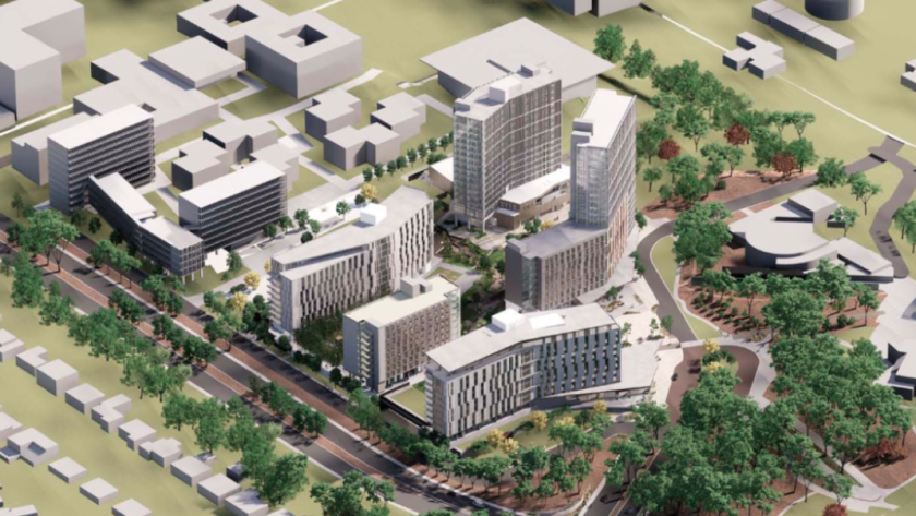 UC San Diego will construct the Future College Living and Learning Neighborhood on the southwest corner of campus. The five-building complex is in the middle of this drawing.