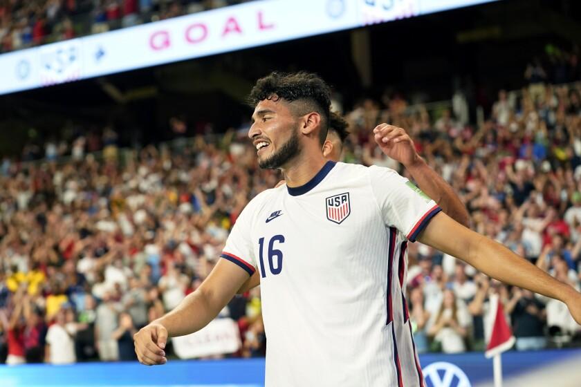 U.S. striker Ricardo Pepi celebrates after scoring his second goal against Jamaica.