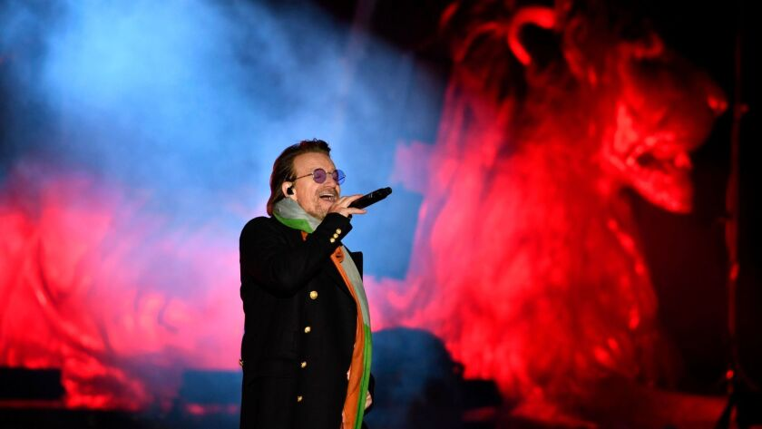 "Bono, seen performing this month in London, has a new album with U2, ""Songs of Experience."""